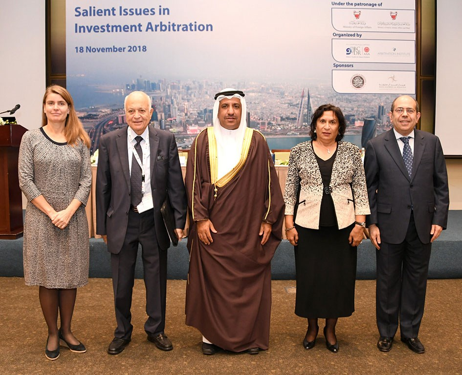 A group picture taken after the opening remarks. From left to right: Annette Magnusson, H.E. Nabil Elaraby, H.E. Abdulla Albuainain, Sh. Haya Al Khalifa and Nassib G. Ziadé.